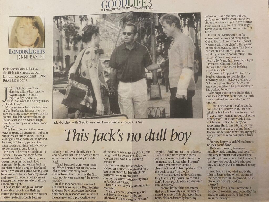 Jack Nicholson Interview for The Mercury